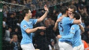 City players celebrate during the 4-1 mauling of Aston Villa