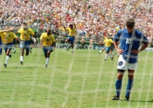 Dejected Baggio after blasting a penalty over the bar at the '94 final