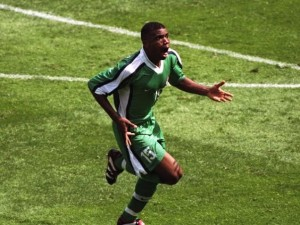 Oliseh wheeling away after punishing Spain with a screamer