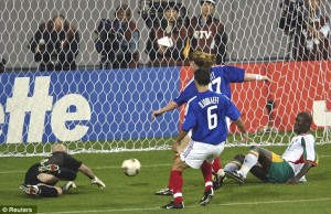 Senegal's Diop scoring an unlikely winner over mighty France in 2002