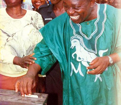 NRC complained about the logo on Abiola's dress  at the polling unit (see fact #2)