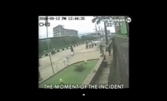 CCTV footage of collapsed Synagogue building