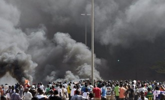 Protesters set Burkina Faso's parliamentary building on fire