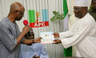 Atiku scores the 'opening goal' by picking APC's presidential nomination form