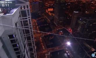 Amazing: A daredevil walk across Chicago skyline