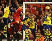 Skrtel heads late leveller for 10-man Reds against the Gunners
