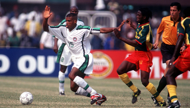 sunday oliseh in action for nigeria