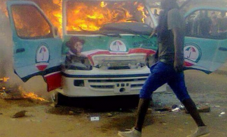 APC supporters burnt Jonathan's campaign bus in Jos, president's aide alleges