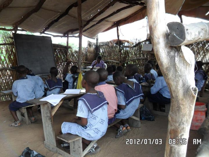 Rev make shift classsroom and studnts