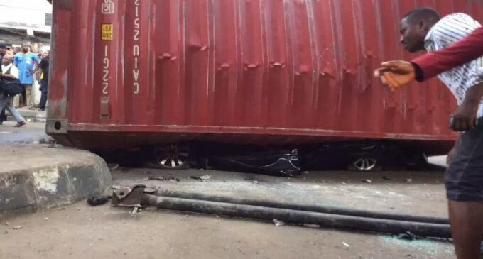 2 killed as container smashes SUV at Ojuelegba