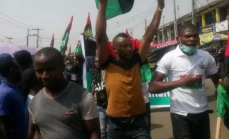 Pro-Biafra protesters storm Lagos