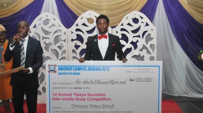 Omoya, UI medical student, wins 1st 'Fisayo Soyombo inter-varsity essay contest