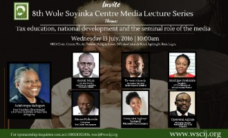 Wole Soyinka centre for investigative journalism holds lecture on taxation