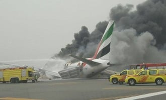 Dubai halts departure flights as Emirates plane crash-lands