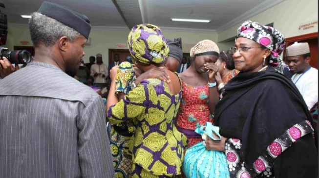Tears flow as freed Chibok girls meet Osinbajo