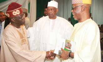 Tinubu, Oyegun shake hands but avoid each other at Buhari's book launch