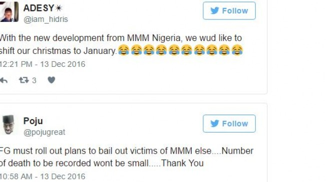 'Let's postpone Christmas and New Year' and other Twitter reactions to MMM freeze