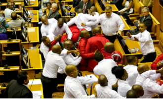 South African lawmakers exchange blows during Zuma's address