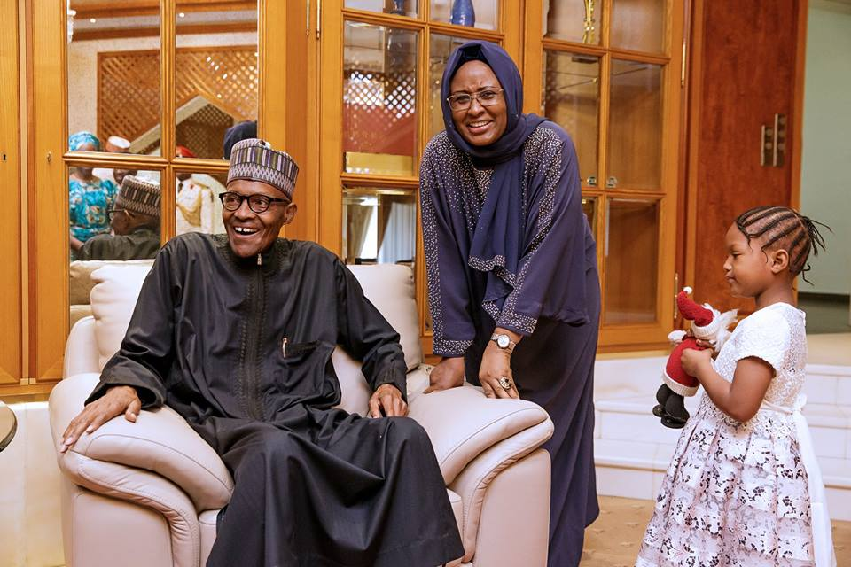 President Buhari, first lady, Aisha and one of his grand daughter