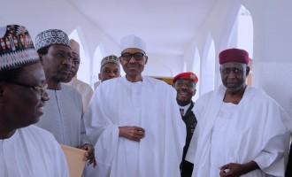 Buhari observes Juma'at service at Aso villa