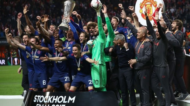 The moment Red Devils were crowned Europa League champions