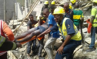 'Many trapped' as 3-storey building collapses in Lagos