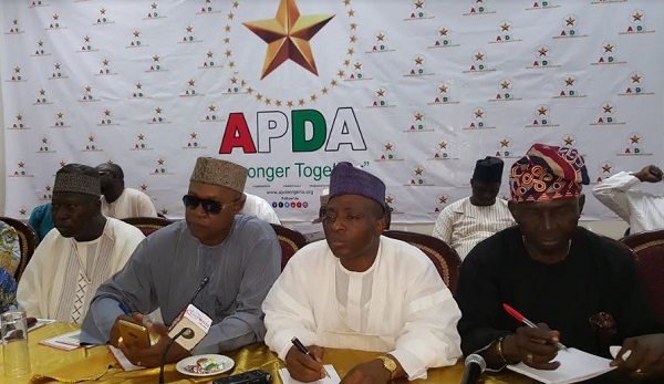 Fijabi Adebo ,Deputy National Chairman South (right), Shittu Mohammed, National Chairman Advanced Peoples Democratic Allinance (APDA) and other chieftains of the party during the unveiling of the party in Abuja