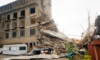 PHOTOS: Four-storey building collapses in Ilorin