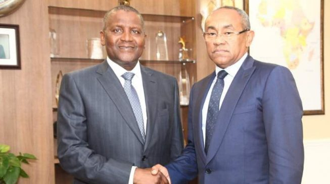PHOTOS: Dangote hosts CAF president