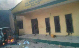 PHOTOS: Police station burnt down in Abia
