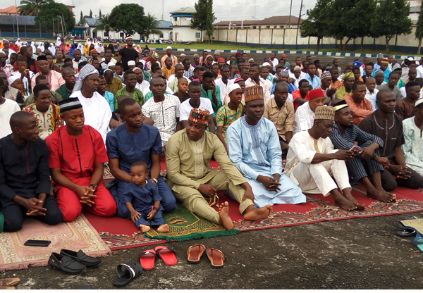 Muslims faithful observing the Eid el-Kabir prayers at the Warri Naval Base in Delta