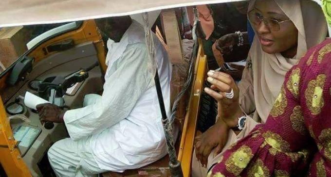 EXTRA: Aisha Buhari spotted inside 'Keke NAPEP'