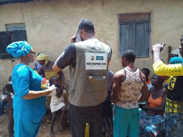 NCDC rapid response team during a yellow fever door-to-door communications campaign in Yagba LGA, Kogi state