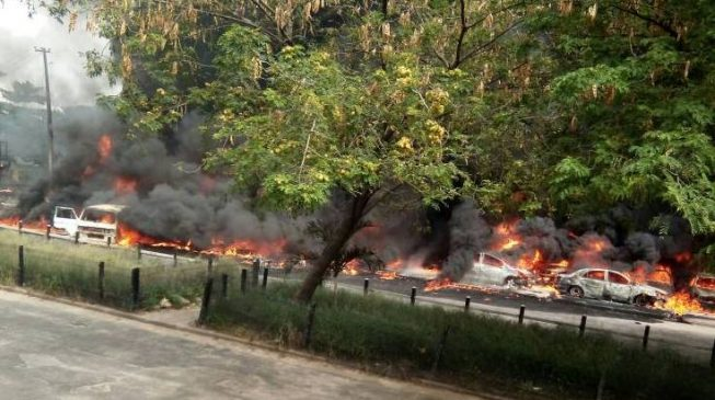 Many escape death as tanker explosion destroys 20 vehicles in FESTAC