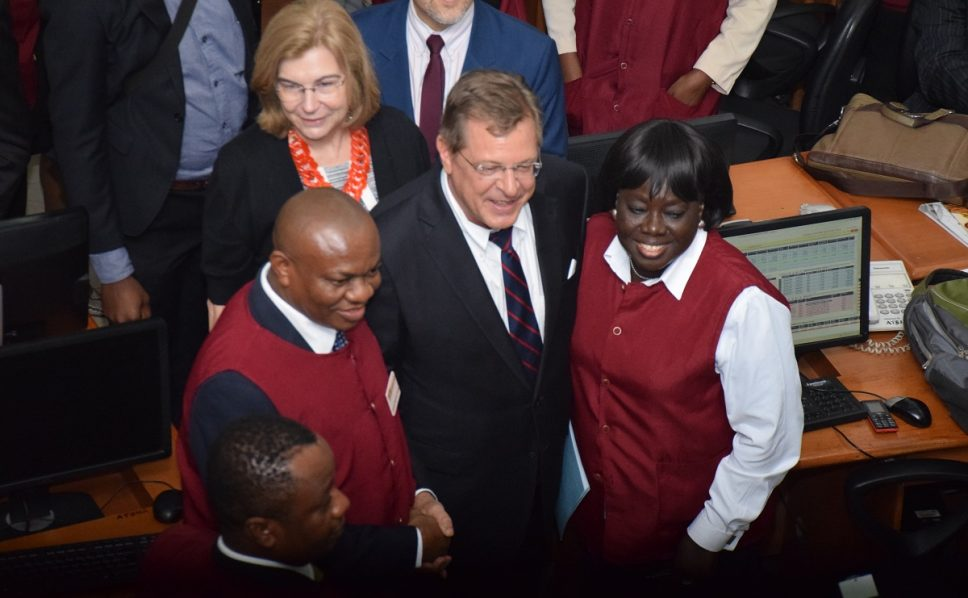 US Consul General rings the bell at Nigerian Stock  Exchange