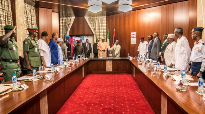 Service chiefs refuse to speak after 2-hour meeting with Buhari