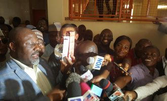 EXTRA: Melaye displays toothbrush, tissue paper in court, says 'I'm ready for prison'