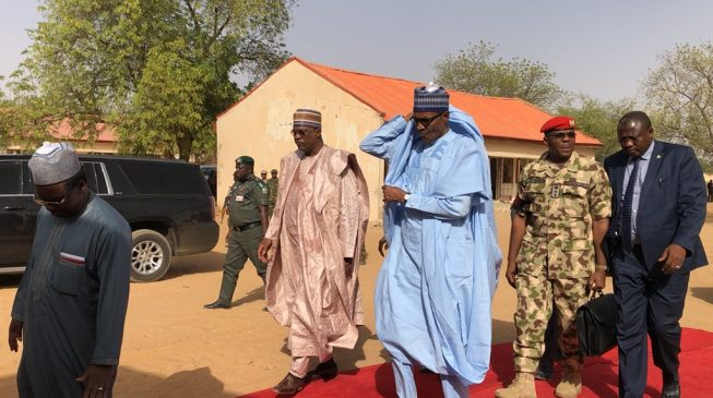 PHOTOS: Buhari visits school where Boko Haram abducted 110 students
