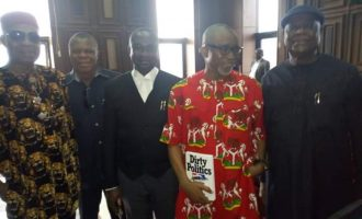 EXTRA: Abaribe displays book on 'Dirty Politics' in court