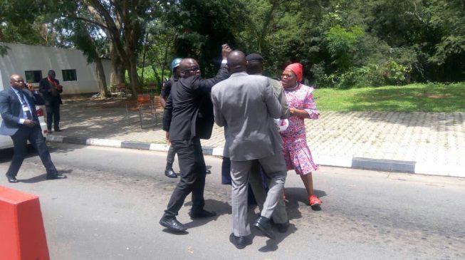 Security operatives assault Ezekwesili at Aso Rock gate