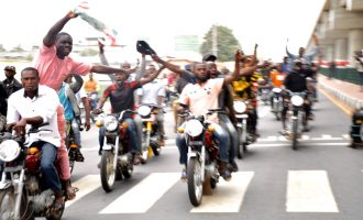 PHOTOS: Bike riders celebrate Fayemi's victory