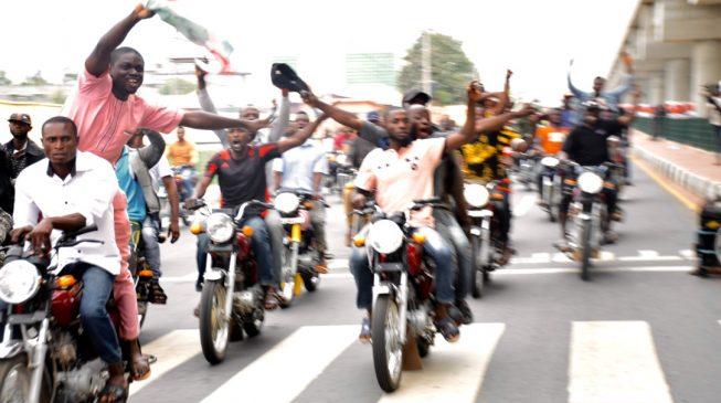 PHOTOS: Bike riders celebrate Fayemi's victory