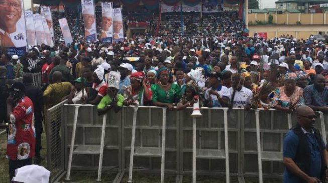 EXTRA: Ngige 'campaigns' for Fayose at APC rally
