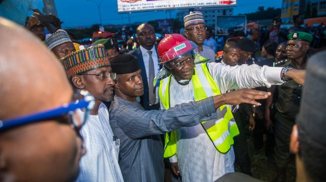PHOTOS: Osinbajo visits scene of Abuja building collapse