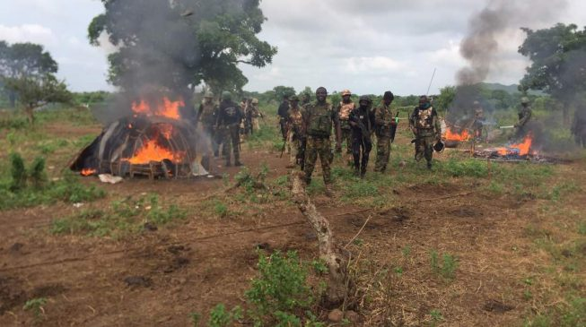 PHOTOS: Army destroys 'herdsmen' camp in Benue