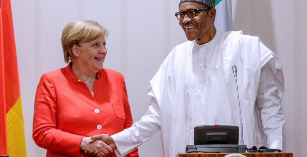 Buhari hosts Angela Merkel at presidential villa