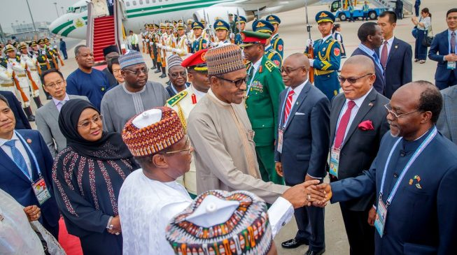 PHOTOS: Buhari arrives Beijing for China-Africa summit