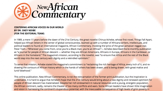 New African Commentary to go live on Nov 16