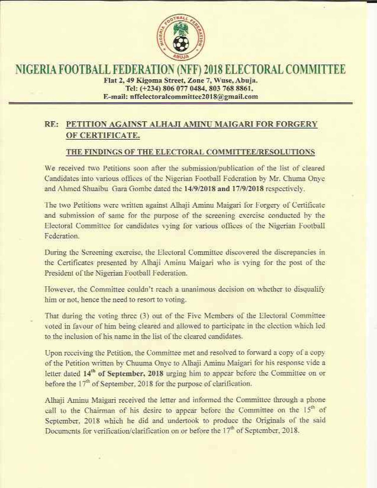The NFF committee's findings (I)