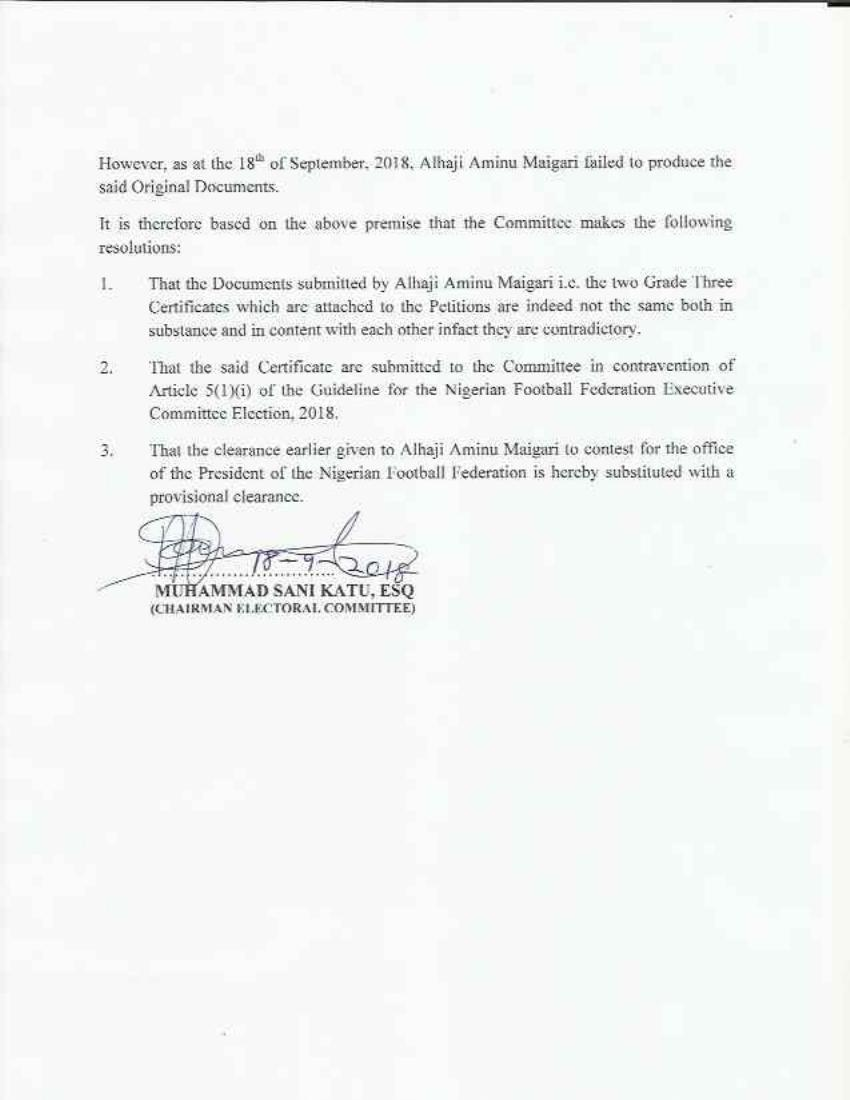 The NFF committee's findings (II)